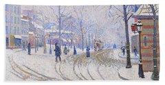 Snow, Boulevard De Clichy, Paris - Digital Remastered Edition Hand Towel