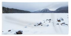 Snow Cover Jordan Pond Hand Towel