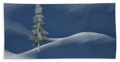 Snow Covered Tree And Mountains Color Bath Towel