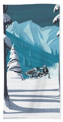 Snowmobile Landscape Bath Towel