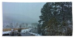 Bath Towel featuring the photograph Snowstorm At The Lake by Dan Miller