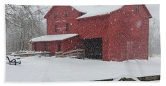 Snowy Day At Bonneyville Mill Bath Towel