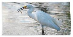 Snowy Egret With Dinner Bath Towel