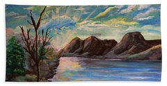 Snowy Range And Lookout Lake Hand Towel