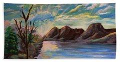 Snowy Range And Lookout Lake Bath Towel