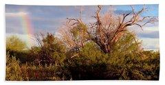 Sonoran Desert Spring Rainbow Hand Towel