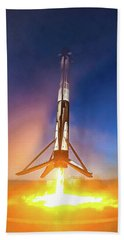 Bath Towel featuring the photograph Spacex Falcon 9 Precision Booster Landing by Matthias Hauser