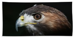 Bath Towel featuring the photograph Sparkle In The Eye - Red-tailed Hawk by Debi Dalio
