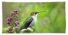Spring Beauty Ruby Throat Hummingbird Bath Towel