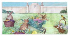 Spring Bunnies, Chick, Birds Bath Towel