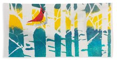 Spring Cardinal With Birch Trees Hand Towel