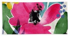 Spring Garden Pink- Floral Art By Linda Woods Bath Towel