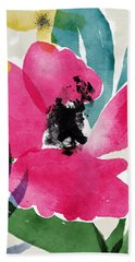 Spring Garden Pink- Floral Art By Linda Woods Hand Towel