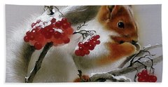 Squirrel With Rowan Berries Bath Towel