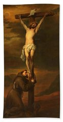 St Francis At The Foot Of The Cross Hand Towel