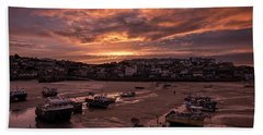 St Ives Cornwall - Harbour Sunset Bath Towel