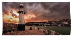 St Ives Cornwall - Lighthouse Sunset Bath Towel