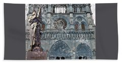 St Joan Of Arc Watch Over Notre Dame Bath Towel