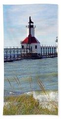 St. Joe, Michigan Lighthouse Bath Towel