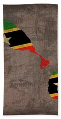 St Kitts And Nevis Country Flag Map Bath Towel
