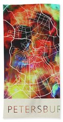 St Petersburg Russia Watercolor City Street Map Hand Towel