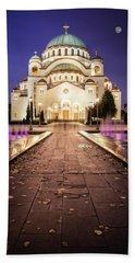 St. Sava Temple In Belgrade Nightscape Hand Towel