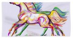 Crayon Bright Horses Hand Towel