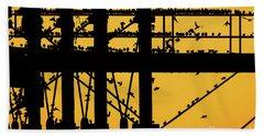 Starlings At Golden Hour On Aberystwyth Pier Bath Towel