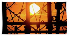 Starlings At Sunset On Aberystwyth Piwer Hand Towel