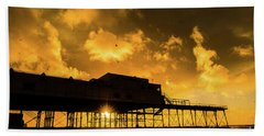 Starlings Ataberystwyth Pier At Sunset Hand Towel
