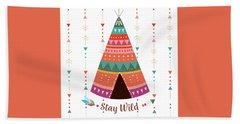 Stay Wild - Boho Chic Ethnic Nursery Art Poster Print Hand Towel