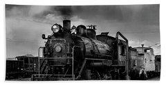 Steam Locomotive In Black And White 1 Bath Towel