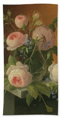 Still Life With Roses, Circa 1860 Hand Towel