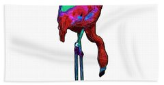 Stooped Over Abstract Flamingo Bath Towel