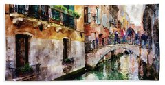 People On Bridge Over Canal In Venice, Italy - Watercolor Painting Effect Bath Towel
