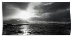 stormy coastline in northern Norway Bath Towel