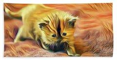 Striped Forehead Kitten Bath Towel