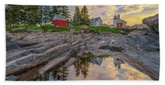 Summer Morning At Pemaquid Point Lighthouse Bath Towel