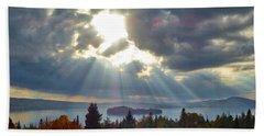 Sun Rays Over Rangeley Lake Bath Towel