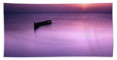 Sun Sets On A Sunken Boat Bath Towel