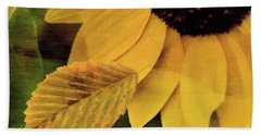 Sunflower And Leaves Hand Towel