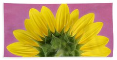 Bath Towel featuring the photograph Sunflower On Pink - Botanical Art By Debi Dalio by Debi Dalio