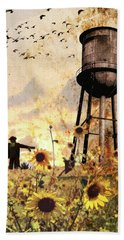 Sunflowers At Dusk Hand Towel