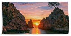 Sunrise In The Village Of Tossa De Mar, Costa Brava Hand Towel