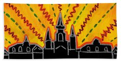 Bath Towel featuring the painting Sunrise Over Jackson Square New Orleans Hand Painted Cityscape by Samantha Galactica