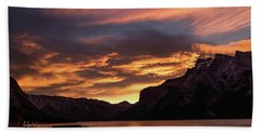Sunrise Over Lake Minnewanka, Banff National Park, Alberta, Cana Hand Towel