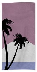 Sunset And Beach Palm Trees Hand Towel