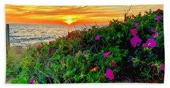 Sunset At Campground Beach  Bath Towel