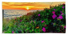 Sunset At Campground Beach  Hand Towel