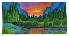 Sunset By The River Hand Towel